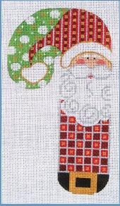 Checkered Santa Candy Cane 18M