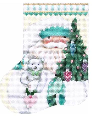 Teal and White Santa Mini Stocking
