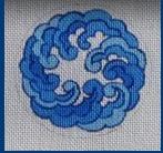 "Blue and White 3"" Round"