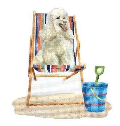 Retro Beach Poodle on Deck Chair