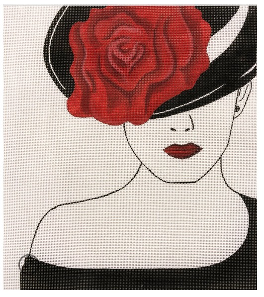 Lady w/ Red Rose Hat