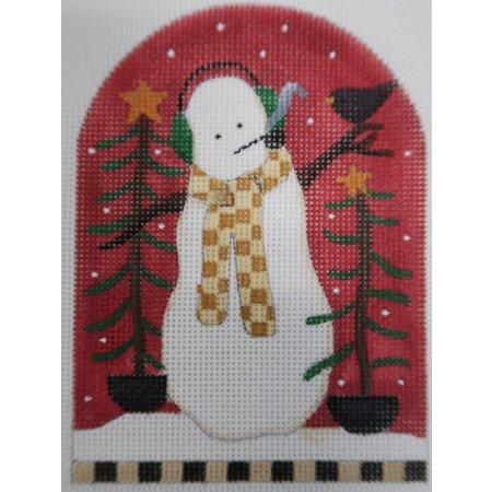 Snowman with blackbird