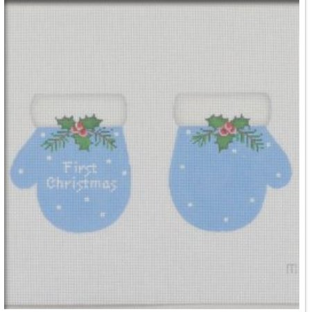1st Christmas Mittens Blue