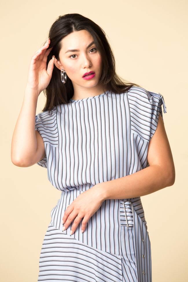 Tibi Tibi Viscose Stripe Shirting Buckle Short Sleeve