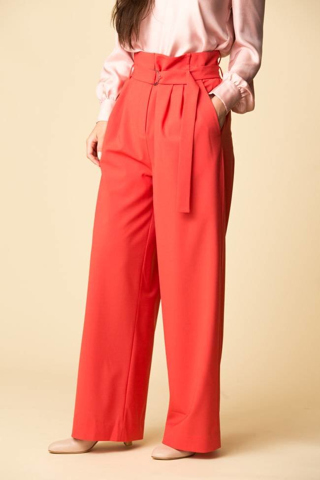 Tibi Tibi Tropical Wool Stella Pleated Pants w/ Belt