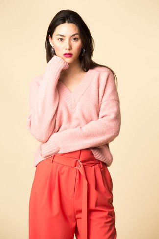 Tibi Tibi Airy Alpaca V-Neck Sweater - Kuni Pink