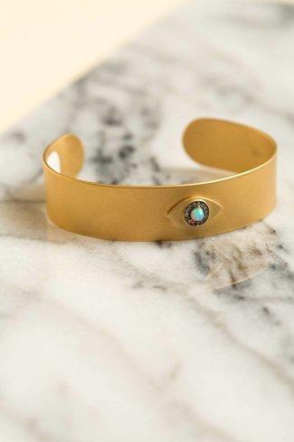 Ileana Makri Ileana Makri Eye Sun Cuff  - Gold Plated w/ Oxidation