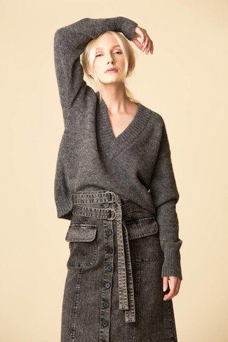 Tibi Tibi Airy Alpaca V-Neck Sweater - Heather Grey