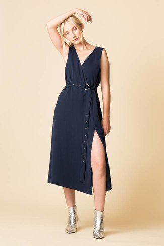 Tibi Tibi Drape Twill Wrap Dress