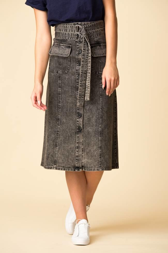 SEA SEA Noir Denim A-Line Skirt