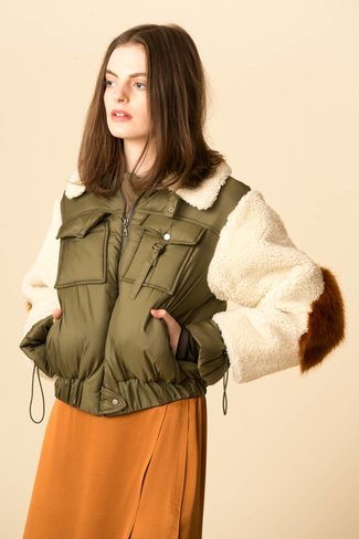 SEA SEA Madeline Fur Military Bomber Jacket