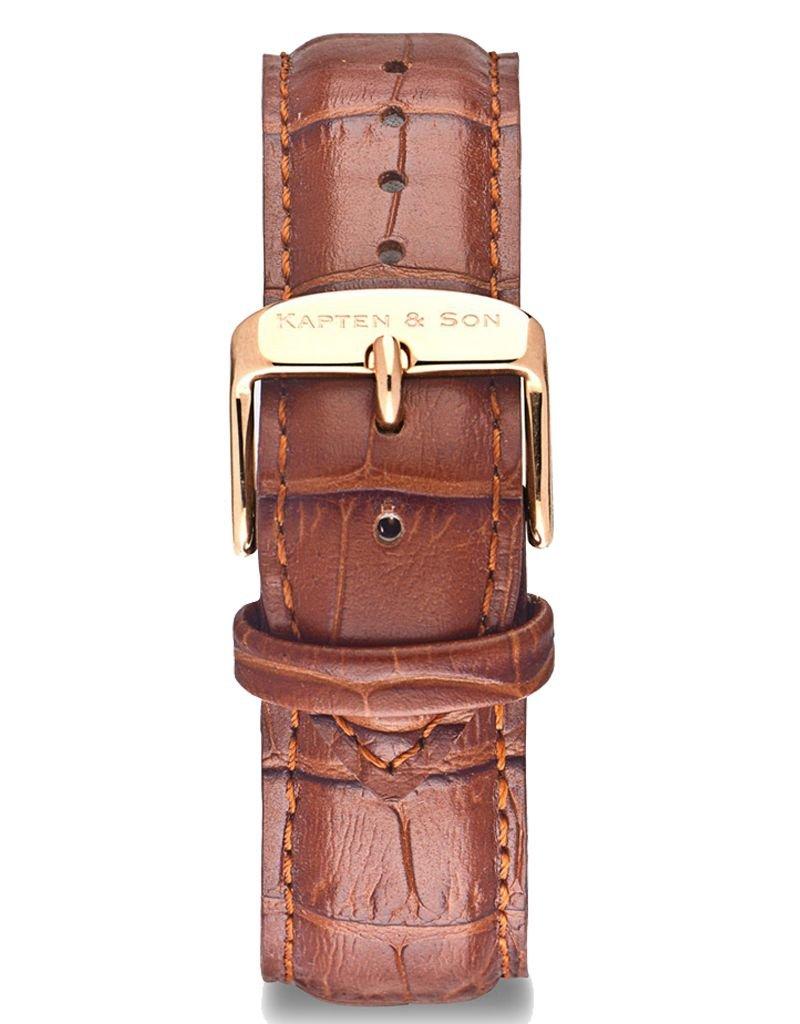 KAPTEN & SON Campus Leather Strap (Brown CrocoxRose Gold)