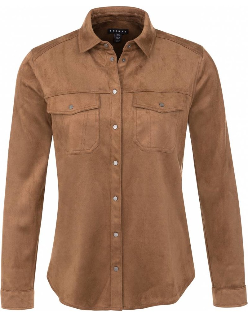 Tribal Tribal Faux Suede Button Down