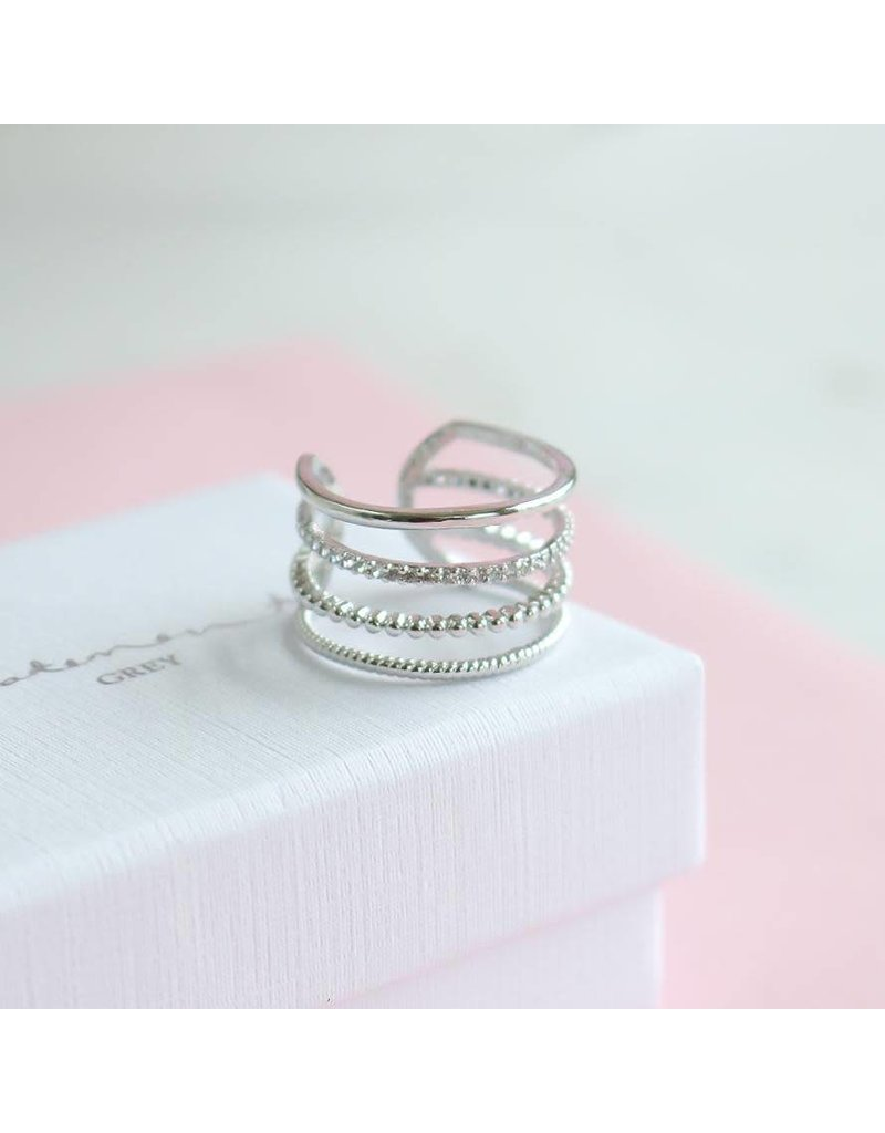 Statement Grey Statement Grey Beaded Line Adjustable Ring