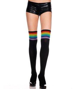 Music Legs Acrylic Rainbow Stripe Thigh Hi OS
