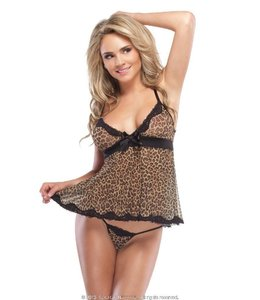 Coquette Kissable Leopard Babydoll & G-String OS