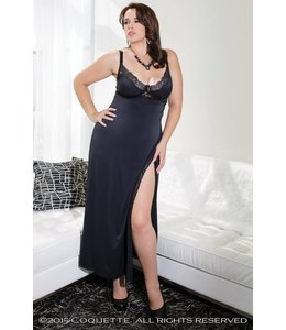 Coquette Long Black Microfibre Gown with Lace Diva