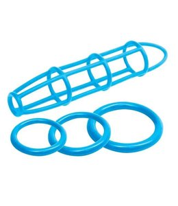 Neon Silicone Cage & Love Ring Set