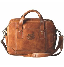 Carolina Sewn UNC Charlotte Tan Leather Business Case with shoulder strap.