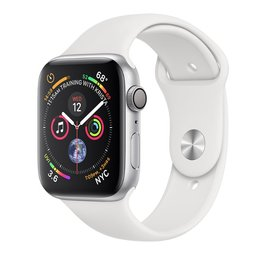 Apple Apple Watch Series 4 GPS, 44mm Silver Aluminum Case with White Sport Band