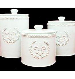 Ceramic Fleur De Lis Canister Med