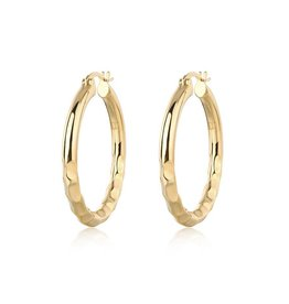 F+H JEWELLERY F+H EASY RIDE HAMMERED HOOPS LARGE