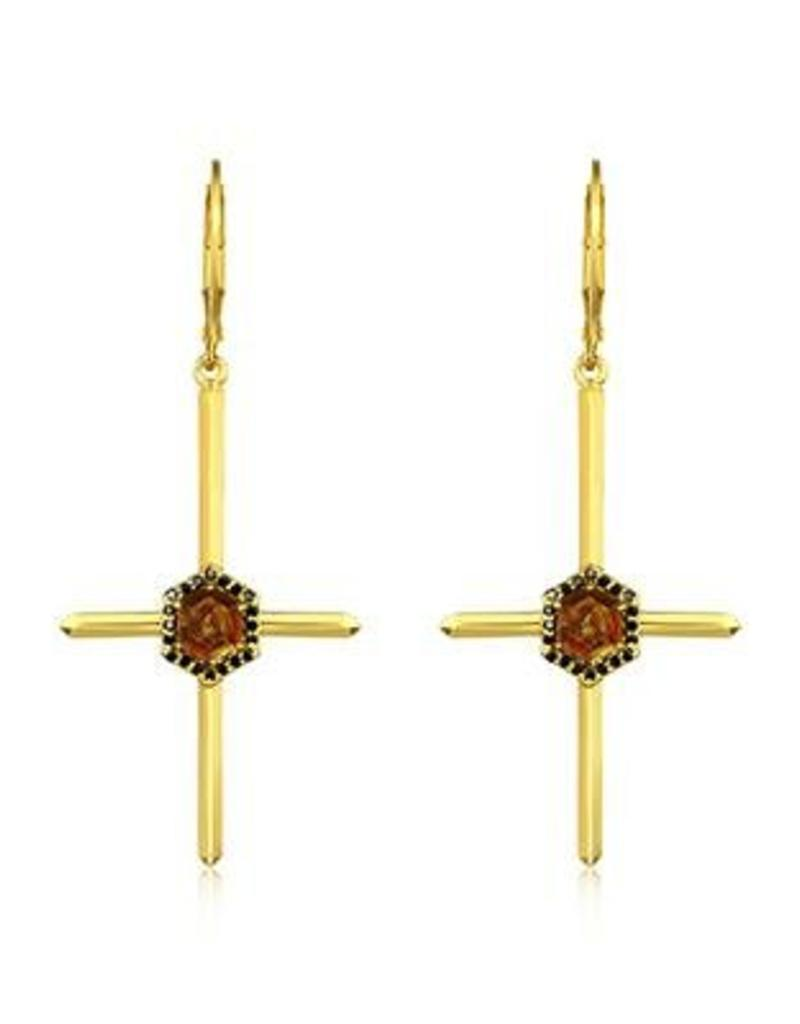 F+H JEWELLERY F+H MARIE CROSS EARRING
