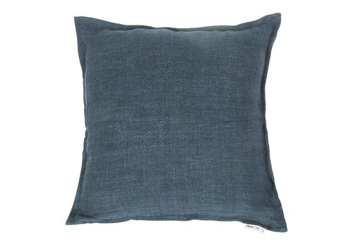 LEMMY LINEN FEATHER CUSHION DENIM BLUE 20X20