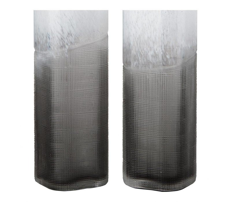 BARLOW VASES SET OF TWO WHITE AND GREY