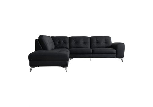 HARLOW LEATHER SECTIONAL LEFT BLACK