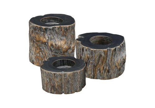 TEAK T-LITE HOLDERS WEATHERED GREY SET OF 3