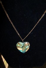 11 - Virginia Ackerman Wood Chip Heart Necklace