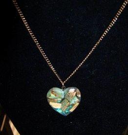 11 - Virginia Ackerman Wood Chip Heart Necklace