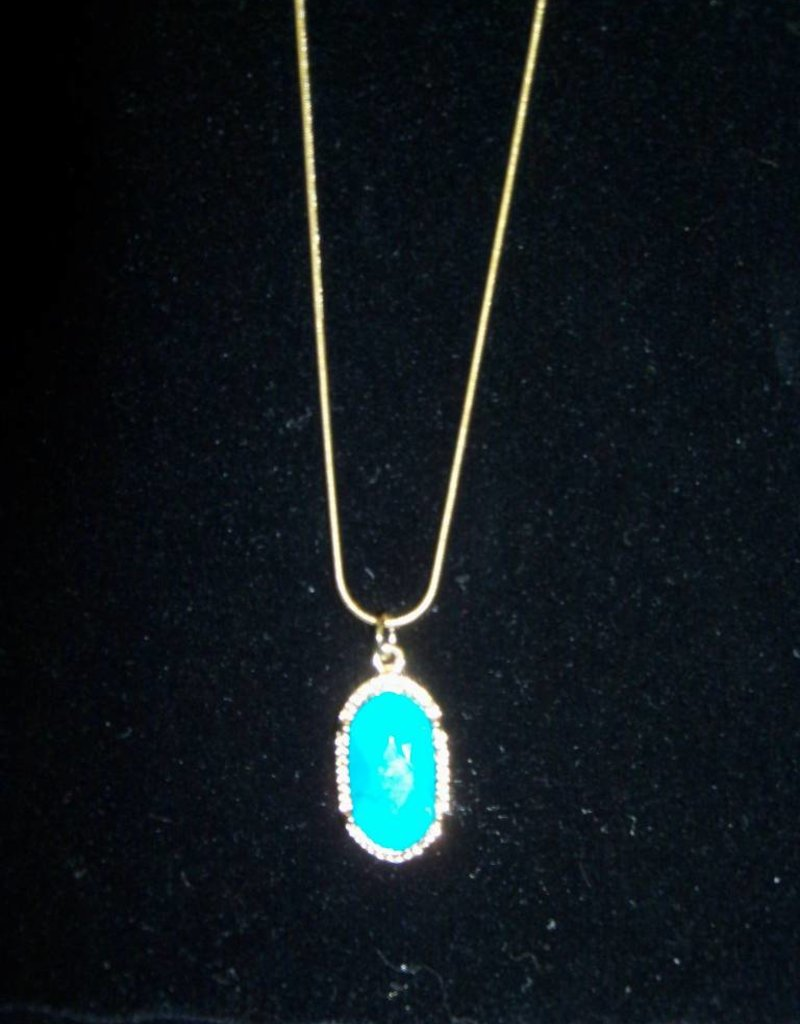 11 - Virginia Ackerman Gold and Turquoise Necklace
