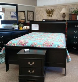 Crownmark Sleigh Bedroom - Twin Size (Black)