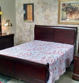 Crownmark Sleigh Bedroom - Twin Size (Cherry)
