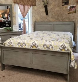 Crownmark Sleigh Bedroom - Twin Size (Gray)