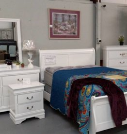Crownmark Sleigh Bedroom - Twin Size (White)