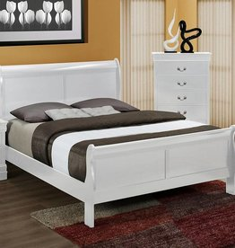 Crownmark Louis Philipe Sleigh Twin Bed White