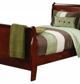 Crownmark Louis Philipe Sleigh Twin Bed Cherry