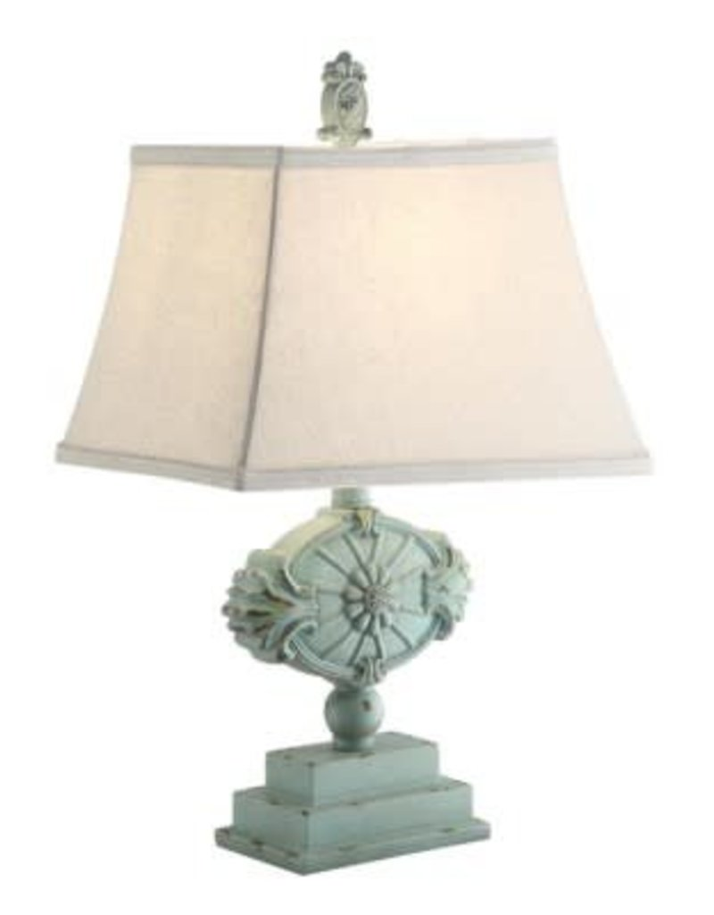 distressed table lamps white washed wood crestview kaleen green distressed table lamp w shade bargain box and bunks