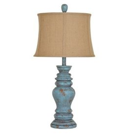 Crestview Barclay Distressed Green Table Lamp W/ Burlap Shade