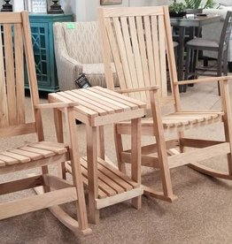 Family Woodworking Pair of Oak Rockers and 1 Side Table