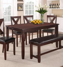 Crownmark Clara Dining Table Set w/ 4 chairs (Espresso)