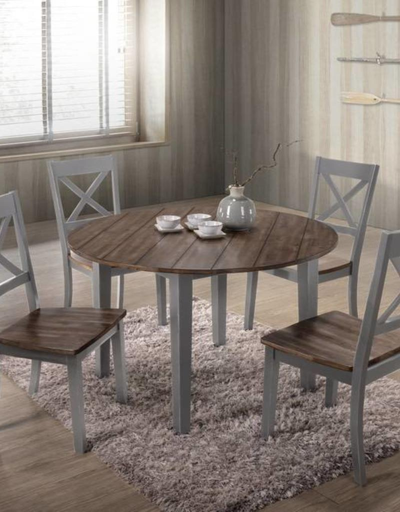 United A La Carte Farmhouse Round Dining Table w/ 4 Chairs