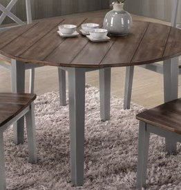 United A La Carte Round Farmhouse Dining Table: Gray