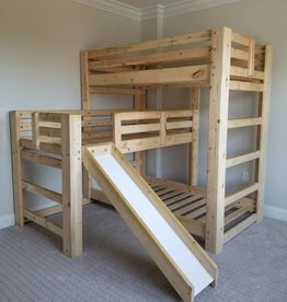 Bargain Bunks Triple Play Triple Bunk Bed W/ Slide