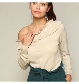 line & dot line and dot one shoulder sweater