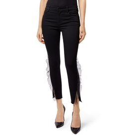 j brand tulle detail crop jeans