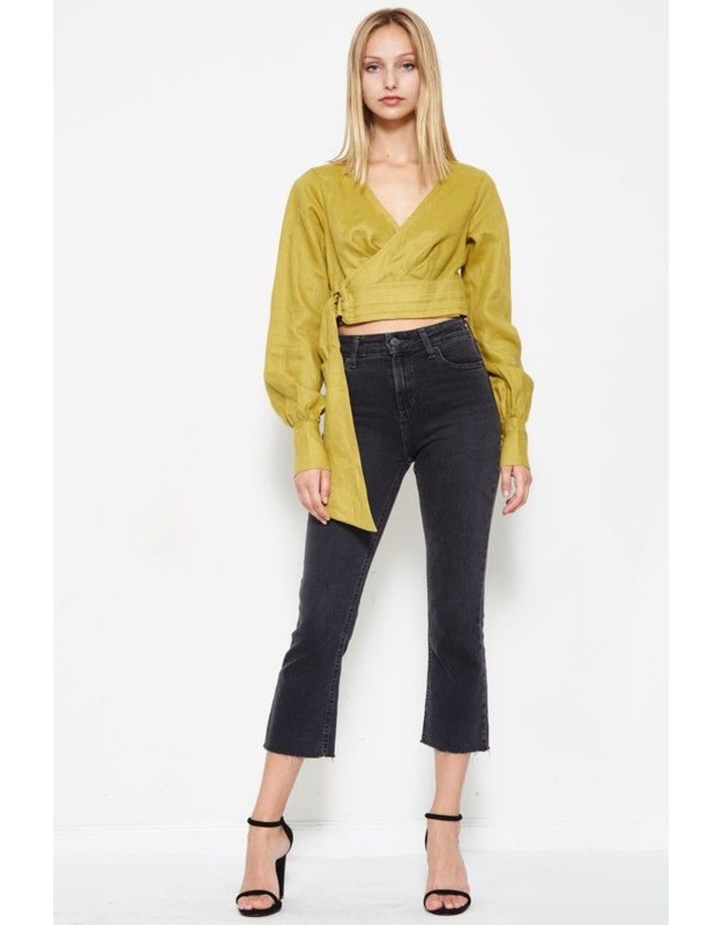 flight lux crop belted longsleeve top